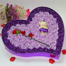 лучшая цена Valentines Day Gifts Rose Flower Wedding Favors And Gifts Hearted Shape Artificial Flowers Wedding Decoration