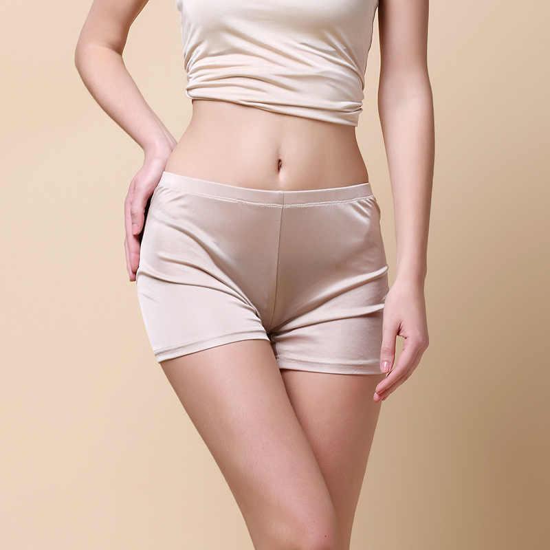 Hoffen 100% jedwabiu morwy krótkie spodnie bezpieczeństwa bliski zwężone z dzianiny majtki majtki oddychające cienkie Shorty Femme WS372