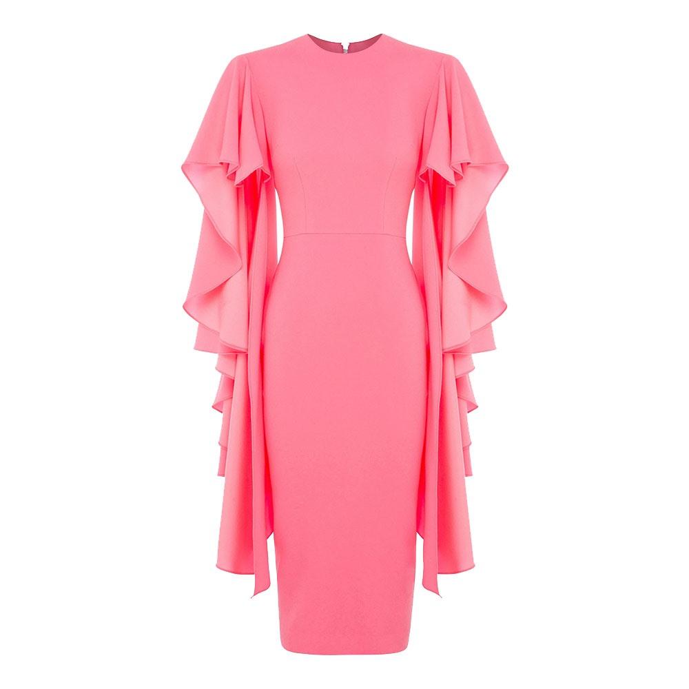 c40eddf2654 Clocolor Ruffle Sleeve Pink Dress Fashion Women Clothes Bodycon Pencil Midi  Dress Female XXXL Elegant Long