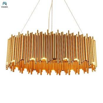 Пост современный роскошный блеск позолоченный металл G9 светодиодный подвесной светильник Гостиная светодиодный подвесной светильник с ре...