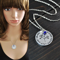 Бесплатная доставка выгравированы имя ожерелье с камень, Персонализированные сплава ожерелье, круг family tree кулон ожерелье