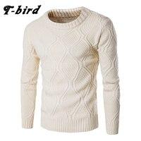 T-bird свитер Для мужчин шерстяной трикотаж Для мужчин с круглым вырезом и длинными рукавами Тонкий теплые свитера Grometric тянуть Homme бежевый ...
