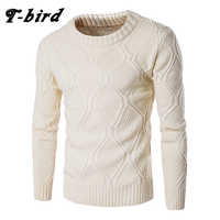 T-bird Sweater Men Woolen Knitwear Men O neck Long Sleeve Slim Warm Sweaters Grometric Pull Homme Beige Pulllvers Knitwear