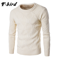 T bird Sweater Men Woolen Knitwear Men O neck Long Sleeve Slim Warm Sweaters Grometric Pull Homme Beige Pulllvers Knitwear