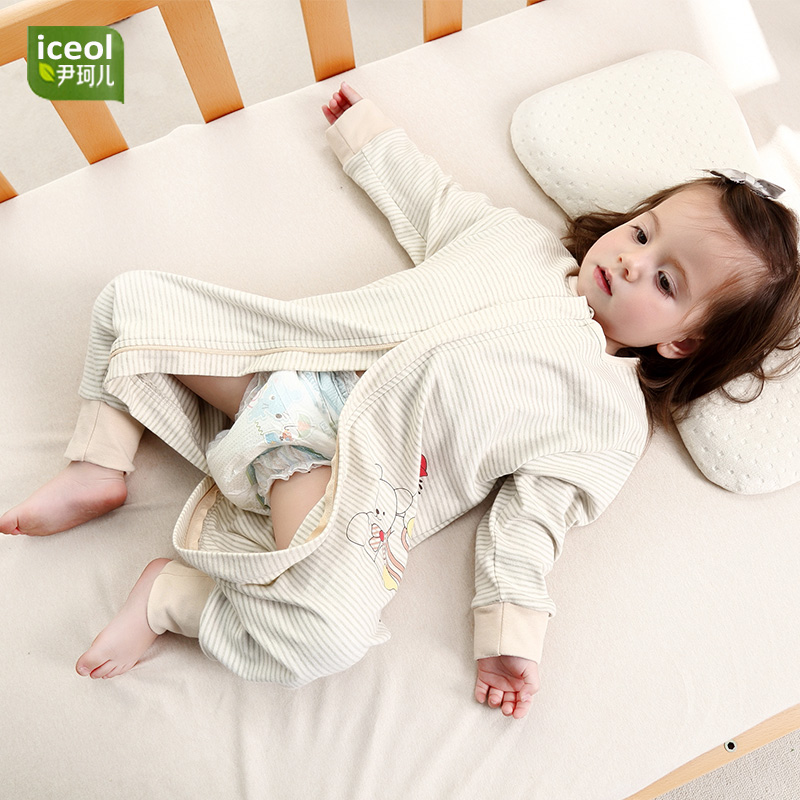 Fashion Baby Jumpsuit Baby Boy Girl Autumn Sleeping Bag 100% Organic Natural  Color Cotton Sleepers New Cartoon Thick New Bedding 133f356f4