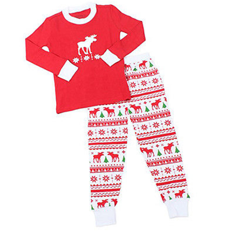 Christmas Baby Kids Boy Girl Deer Sleepwear Nightwear Pajamas Set Pyjamas Age 0-8Y 2016 christmas suit 0 3y newborn toddler kids girls boys reindeer homewear nightwear sleepwear pajamas set 2pcs