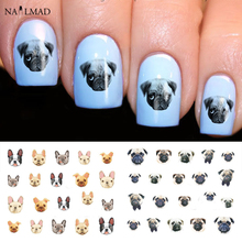 22pcs Cartoon Cats Nail Water Decals Boxer Dogs Nail Art Tattoo Decals Kitten Water Slide Nail Stickers Manicure Decoration