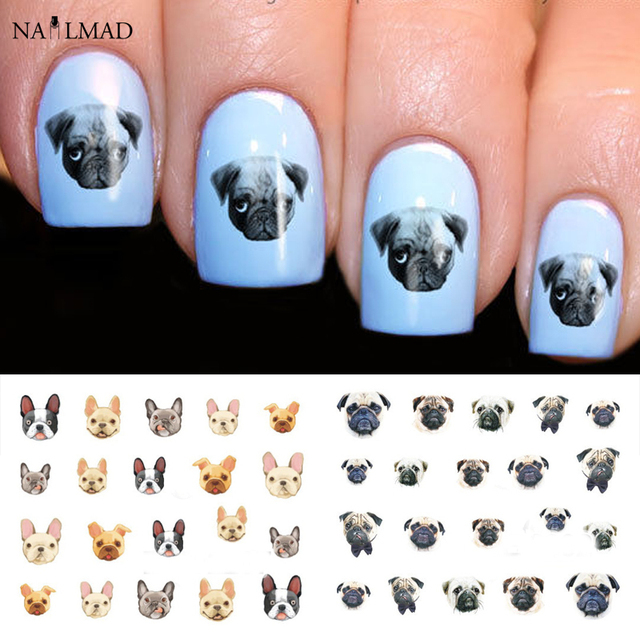 22pcs Cartoon Cats Nail Water Decals Boxer Dogs Nail Art Tattoo