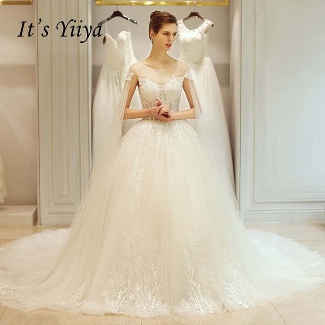 It\'s Yiiya Shawl Lace O neck Backless Train Illusion Bride Gown Lace ...