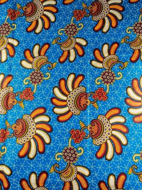 African Fabrics Atlanta Super Deluxe Wax Blue Red Orange Jewellery ...