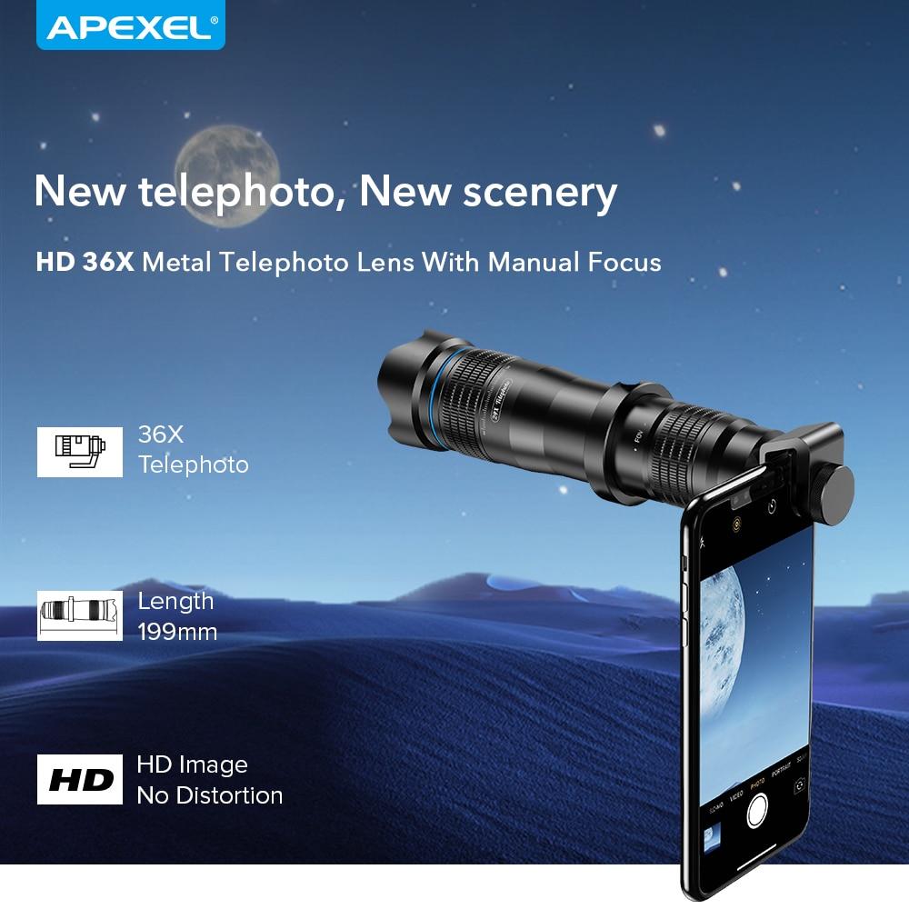 APEXEL 36X téléphone caméra téléobjectif Zoom HD monoculaire télescope lentille selfietrépied avec obturateur à distance pour tous les Smartphones