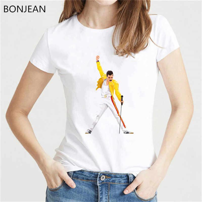 をフレディ · マーキュリー tシャツ女性女王バンド Tシャツヒップホップパンクトップ女性 tシャツファム原宿夏シャツ白 tシャツ