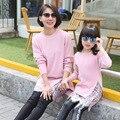 2017 рождество мать и дочь одежда девушки женщины водолазка длинные свитера платье кружева кардиган пуловер семья посмотрите