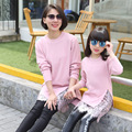 2017 christmas mother and daughter clothes girls women turtleneck long sweaters dress lace cardigan pullover family look