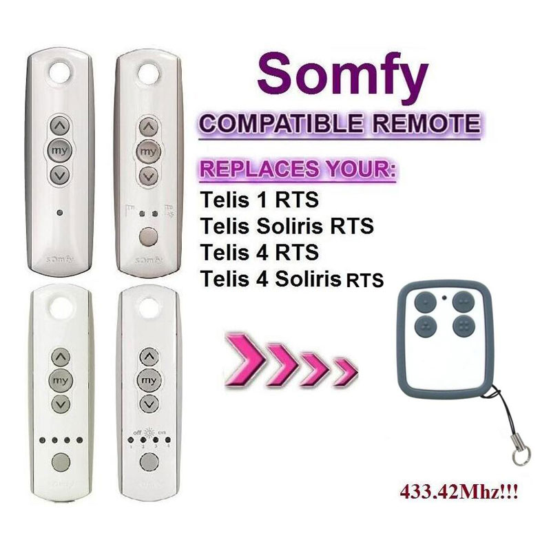 For Somfy Telis 4 RTS, Somfy Telis 4 Soliris RTS garage door remote control replacement somfy telis 4 rts somfy telis 4 soliris rts compatible garage door remote control 433 42mhz free shipping