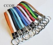 Бесплатная доставка, 50 шт. 8 мм кожаные брелки для ключей, брелки для ключей 8 мм с подвесками и надписью
