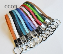 Free Shipping, 50PCS 8MM Copy Leather Keychains, Key Rings Fit 8mm Slide Charms Slide Letters