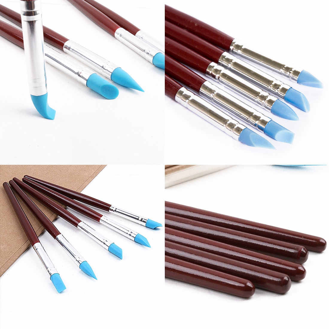 Silicone Rubber Clay Shaper Sculpting Polymer Modelling Pottery Tools 5pcs