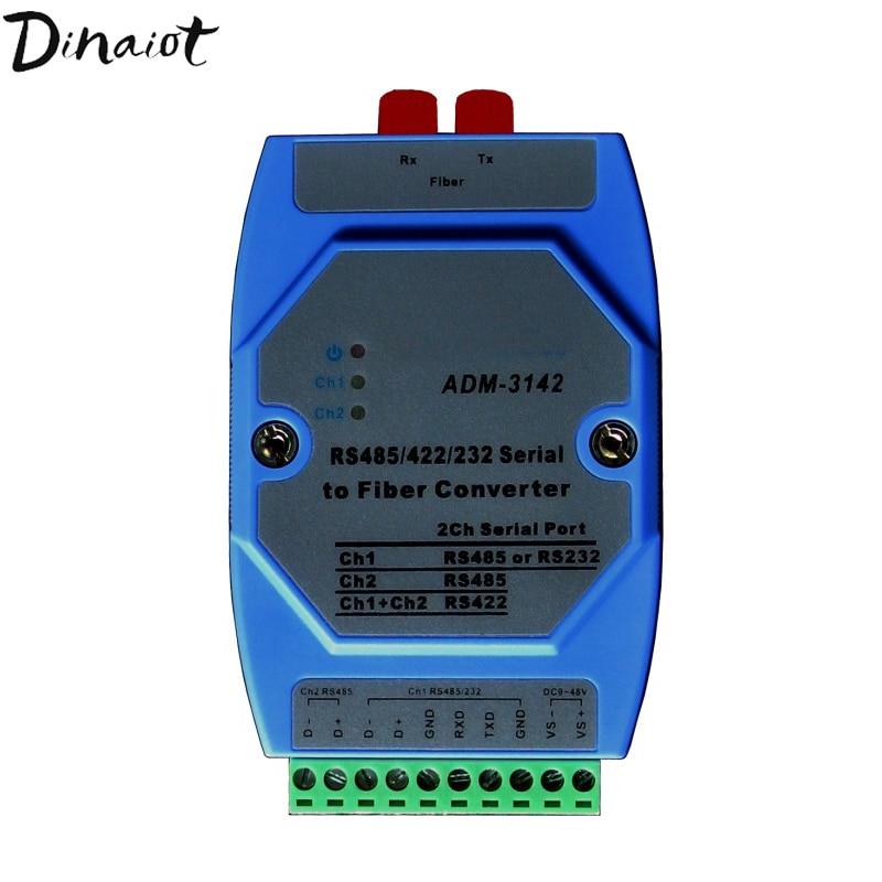 Bidirectional RS485 Optical Transceiver RS232/422/485 To Optical Fiber   Transceiver Serial Converter Support Modbus PLC