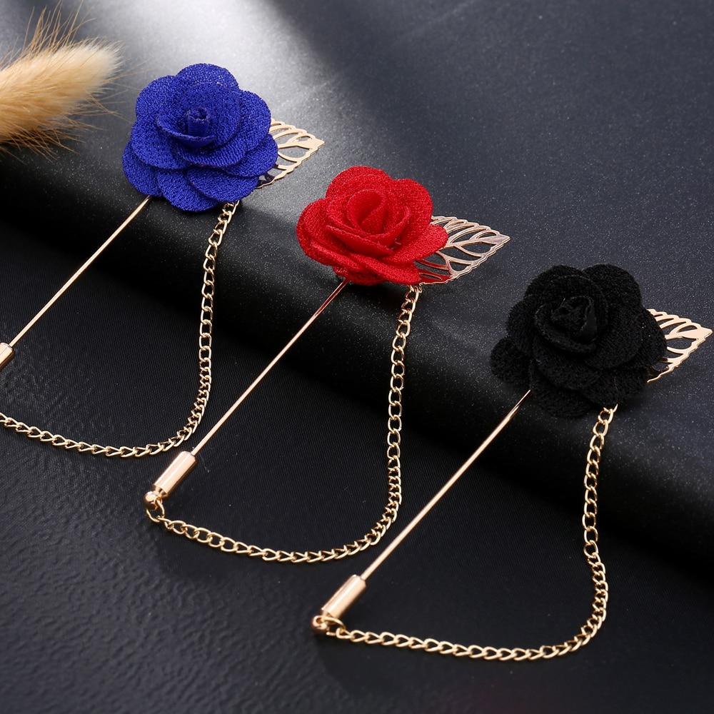 Stylish Beautiful Black Flower Lapel Pin: Fashion Gold Color Rose Brooch Pin Women Garment