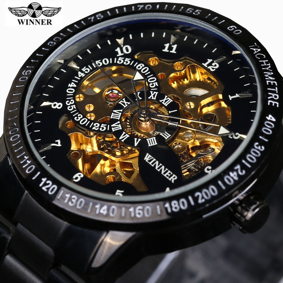 2016 Famous Brand Winner Luxury Fashion Vintage Steel Stainless Black Dial font b Men b font