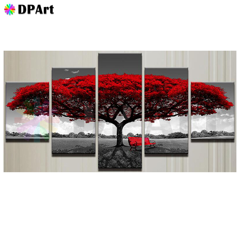 5pcs New Diamond Painting 5D Full Square Round Drill Scenery Landscape Red Tree Daimond Rhinestone Embroidery