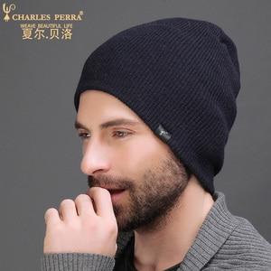 Image 2 - צ ארלס Perra גברים סרוג כובעי חורף שכבה כפולה לעבות צמר כובע אופנה מזדמן זכר Skullies בימס בתוספת קטיפה 3317