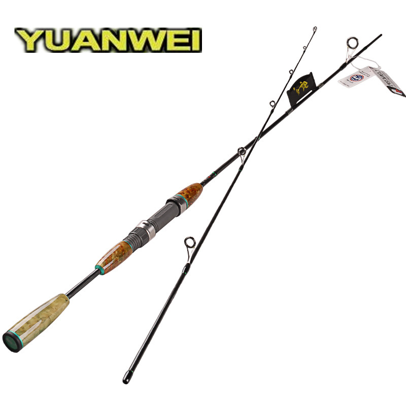 YUANWEI 1.8m 1.98m 2.1m UL/L Spinning Fishing Rod 2Sec Wooden Handle 40T Carbon Lure Rods Stick Vara De Pesca Canne A Peche Olta