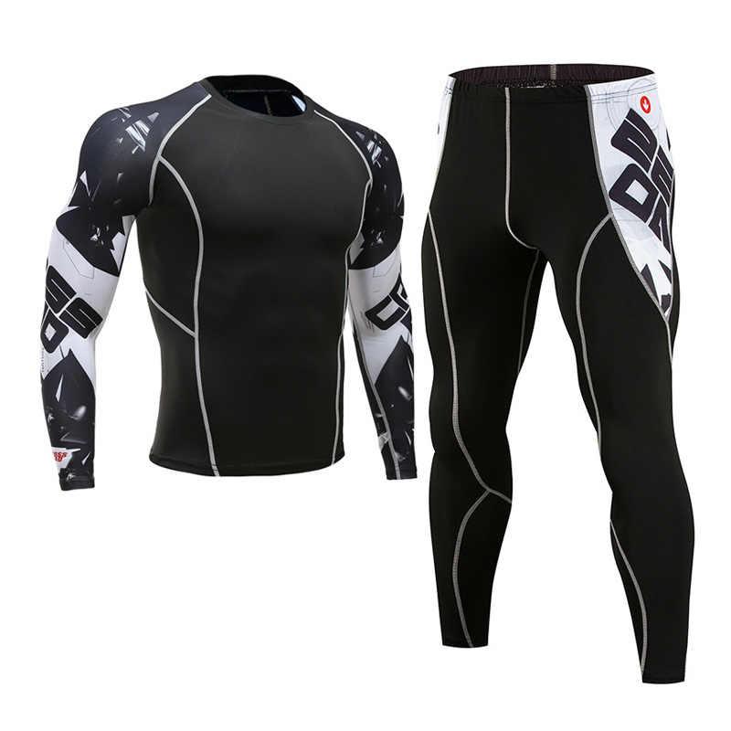 Mannen MMA COMPRESSIE PAK fitness trainingspak kleding merk 3D gedrukt crossfit T-Shirt leggings 2 st set thermisch ondergoed 4XL