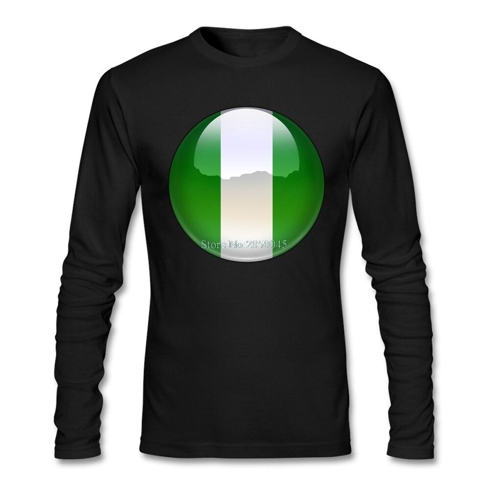 Shirt design in nigeria - T Shirt Men Long Sleeve New Trend Nigeria Flag Jewel Long Sleeve Casual Mens Top Tee Shirt