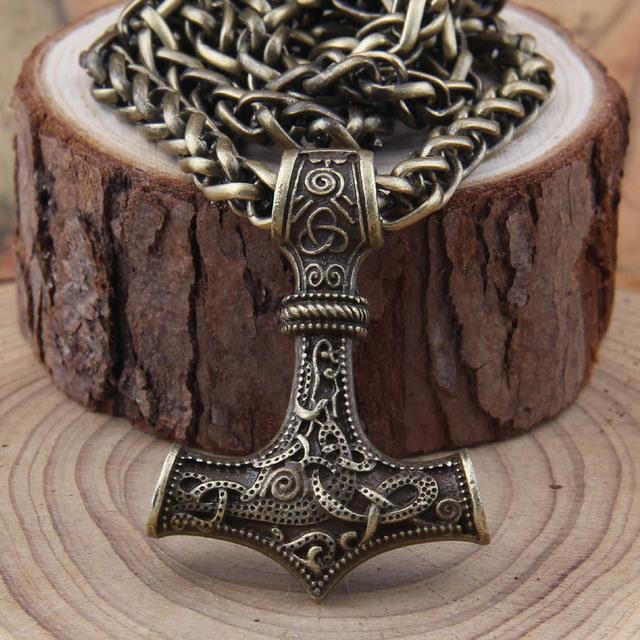 Vikings Norse Thor's Hammer Mjolnir Pendant Necklace