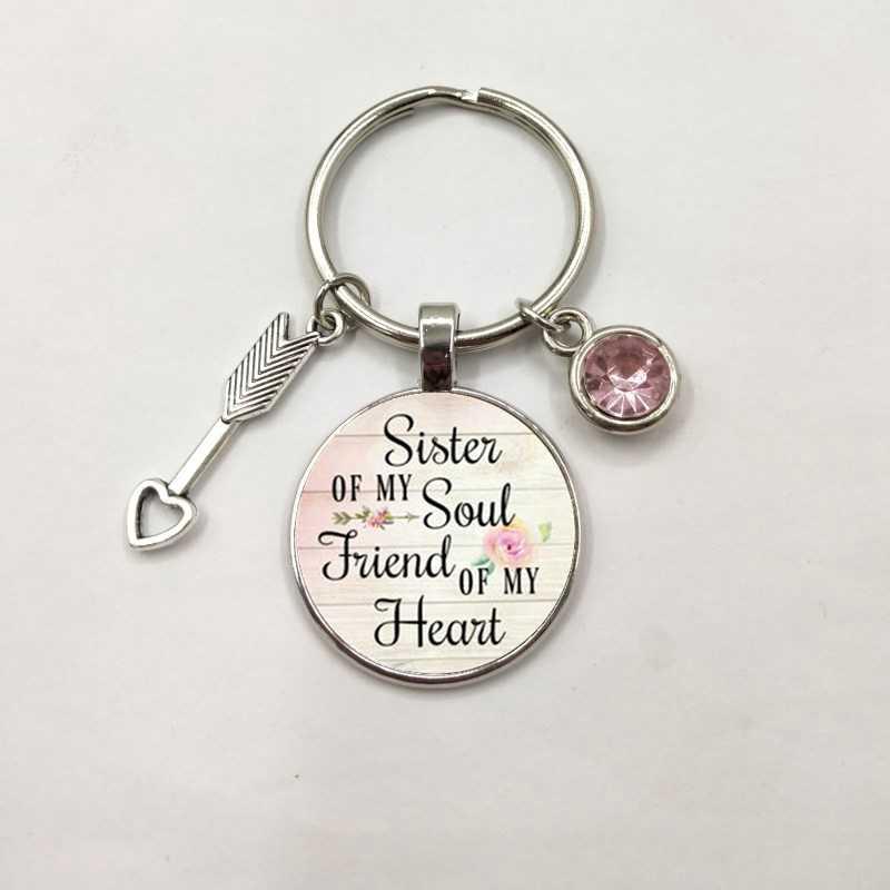 אחות של הנשמה שלי חבר של שלי לב, אבן המזל תליון, השראה קסם Keyring, מתנה הטובה ביותר חבר, תכשיטי אחות