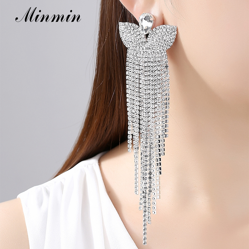 Minmin Silver Color Crystal Bridal Big Long Earrings Butterfly - Fashion Jewelry - Photo 2