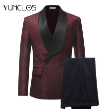 YUNCLOS New Arrival 2019 Men Suits Burgundy Red Jacquard 2 Pieces Set Tuxedo Groomsman Wedding Terno Masculino