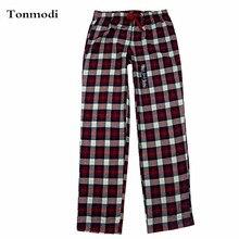 Сплетенный байки клетчатые плоским гостиная штаны сна ткань женский пижамы женские