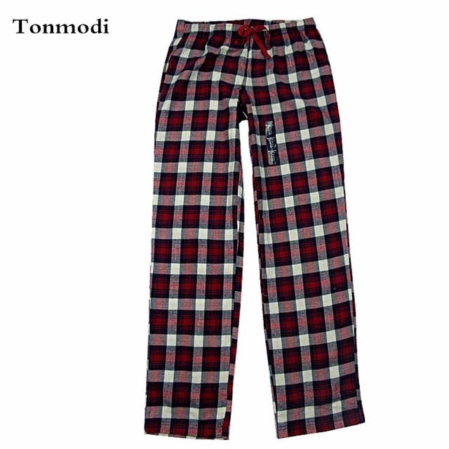 Pantalones Mujeres Flannelette Plano 100% Algodón Tejido de Tela Delgada Pantalones de Pijama A Cuadros Femeninos Mujeres Salón Del Sueño Bottoms