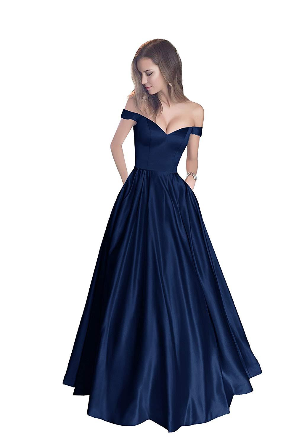 Alexzendra Off The Shoulder Navy Blue   Prom     Dress   with Pocket 2019 Formal Evening   Dresses   Party   Dress