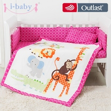 ФОТО Lovely Jungle Animals 6PCS Printed Crib Bedding for Girl
