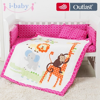 цена на i-baby Baby Bedding Set 9pcs Crib Set Newborn Jungle Animals Cotton Printed Sheet Duvet Pillow Quilt Cot Sets in Crib Girl