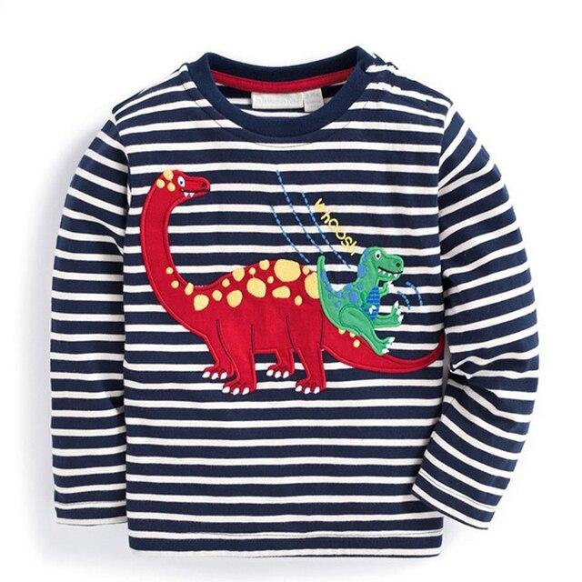 Футболка для маленьких мальчиков детская одежда 2017 брендовая одежда для мальчиков топы с длинными рукавами Аппликации животных Детские футболки для мальчика Толстовка