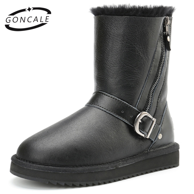 GONCALE female winter shoes Genuine Sheepskin Leather Waterproof Snow Boots 100% Natural Wool Fur women Warm Winter Boots