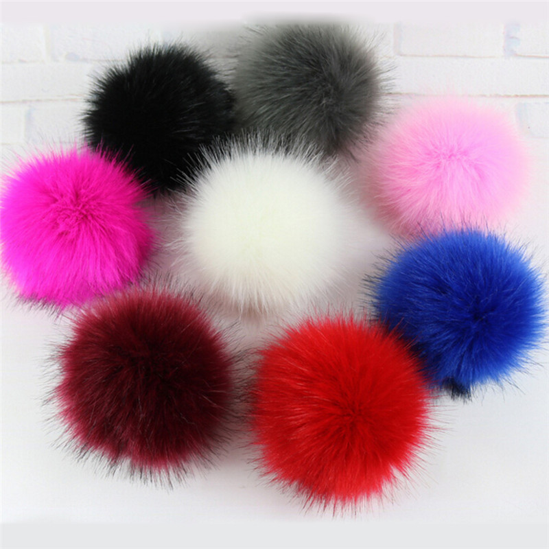 New 10CM Faux Fox Fur Pom Pom with Press Button Fake Fur Hat Bubble Removable Fur Pompom Metal Buttons Jewelry Findings 1Pcs winter fur hat for women real rex rabbit fur hat with silver fox fur flower knitted beanies 2018 new sale high end women fur cap