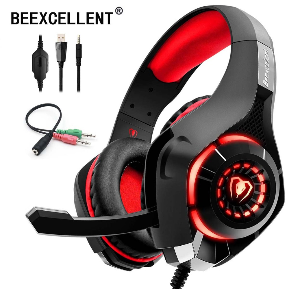 Beexcellent Stereo Gaming Headset Casque Deep Bass Stereo Game Headphone with Mic LED Light for PS4 Phone PC Laptop Gamer