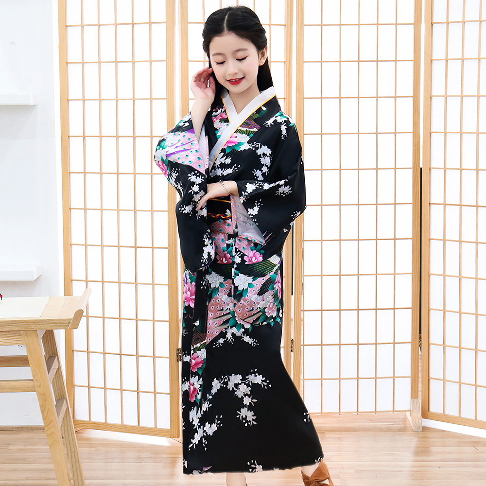 Japanese Style Vintage Traditional Kimono Halloween Girls Cosplay Costume Elegant Sakura Suit Print Peacock Children Robe Gown