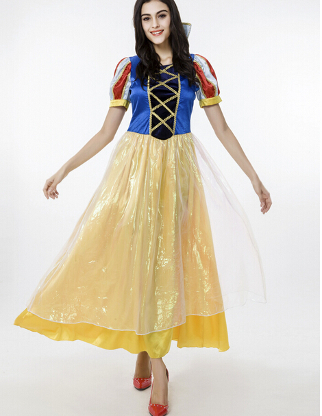 Free shipping princess Snow White Costume Adult For Women Sexy Fashion Long Dress Halloween Cosplay Party Costume