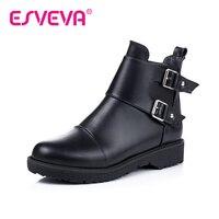 ESVEVA 2016 British Style Black Shoes Women PU Square Low Heel Zipper Round Toe Ankle Boots