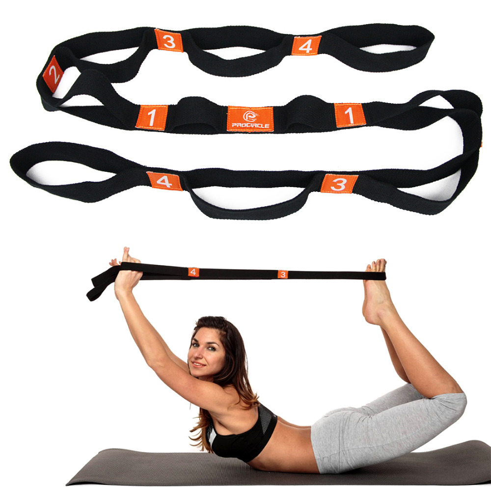 Yoga Stretch Strap Elasticity Yoga Strap with Multiple Grip Loops Hot Yoga Physical Therapy Greater Flexibility ...