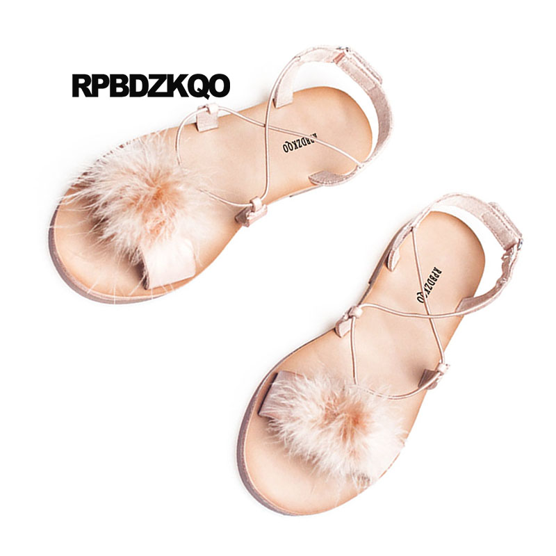 e5d8ceeab3db62 Open Toe Shoes Kawaii Pink Strappy Gladiator Fur Plus Size 2018 Ladies  Fluffy Women Sandals Flat Summer Roman Cute Slingback