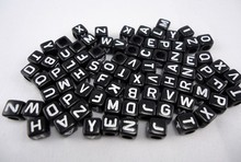 500pcs White in Black Acrylic Assorted Alphabet Letter Cube Pony Beads (6X6mm )