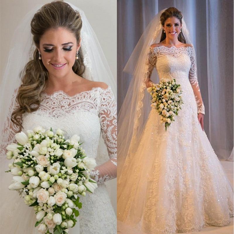 2017 mode vestido de noiva court train longues robes de mariée sur mesure Appliques col bateau cristal tulle robes de mariée